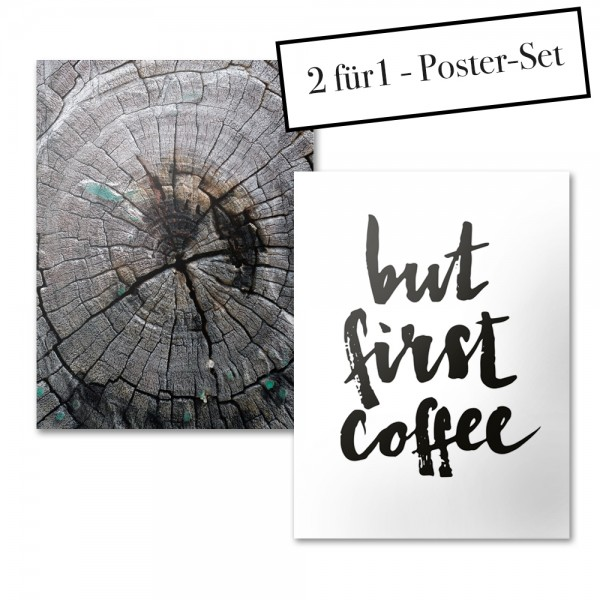 Poster Set WOOD + BUT FIRST COFFEE