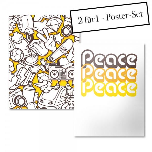 Poster Set YELLOW GRAFFITI + PEACE