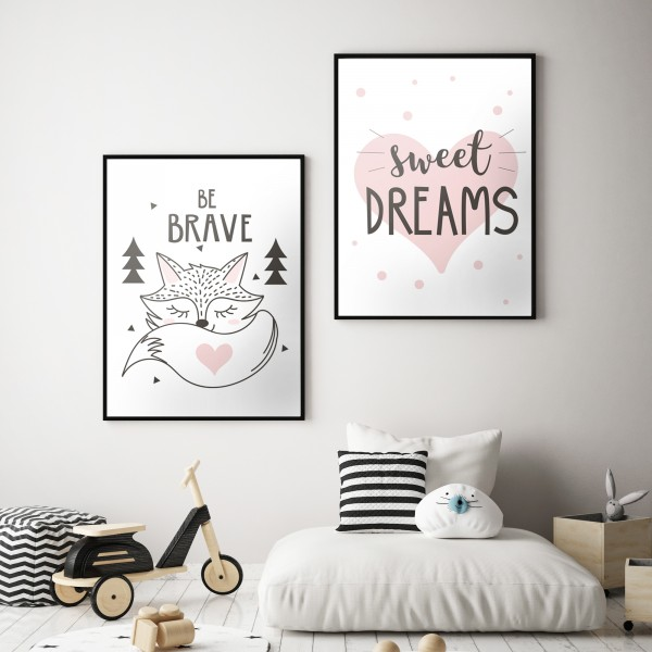 Poster Set BE BRAVE + SWEET DREAMS