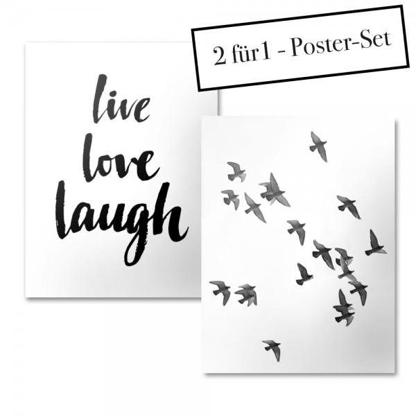 Poster Set LIVE LOVE LAUGH + BIRDS