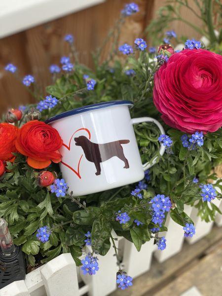 Weisser Emaille Becher mit Haustier & Herz