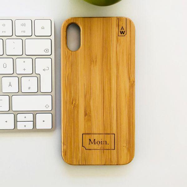 "Holz Handyhülle Bambus ""Moin"""