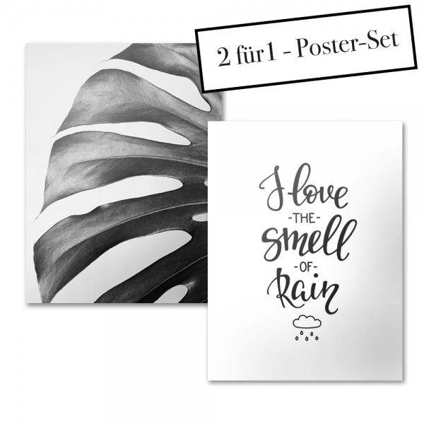 Poster Set MONSTERA + I LOVE TO SMELL THE RAIN