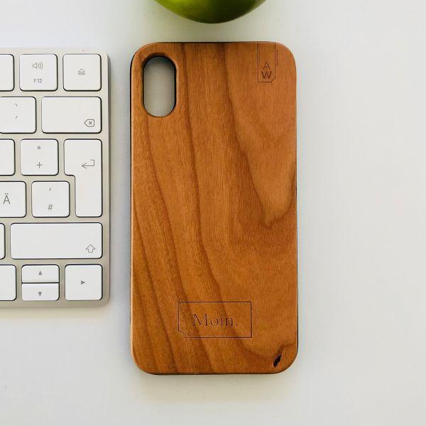 """Holz Handyhülle Kirsche """"Moin"""""""