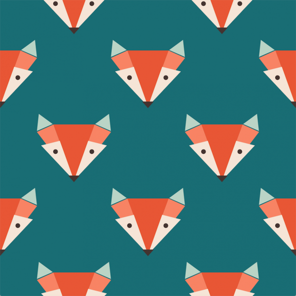 Grafische Tapete RED FOX ON GREEN