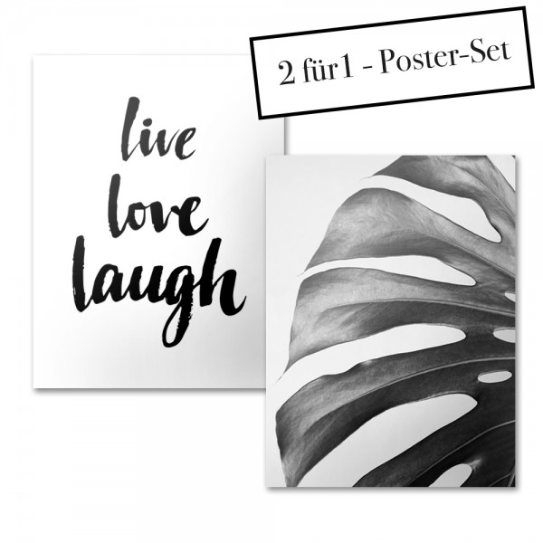 Poster Set LIVE LOVE LAUGH + MONSTERA