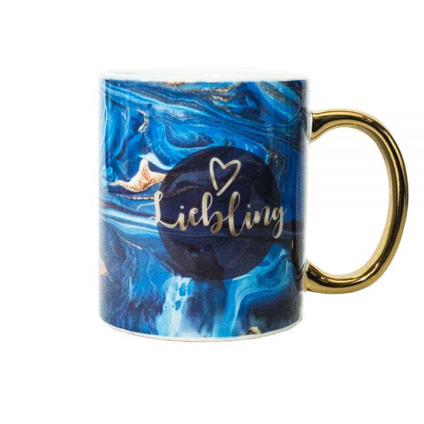 Tasse mit Motiv MARBLE bleu gold LIEBLING